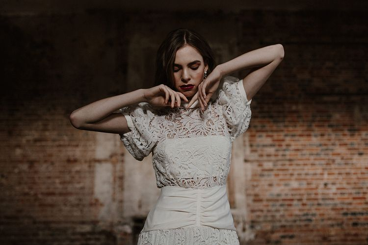 Bride in Cap Sleeve & High Neck Lace Bridal Gown | Deep Florals Wedding Inspiration at The Grange at Northington Planned & Styled by Wed & Bash | Sara Lincoln Photography
