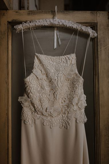 Spagetti Strap Lace Bridal Gown | Deep Florals Wedding Inspiration at The Grange at Northington Planned & Styled by Wed & Bash | Sara Lincoln Photography