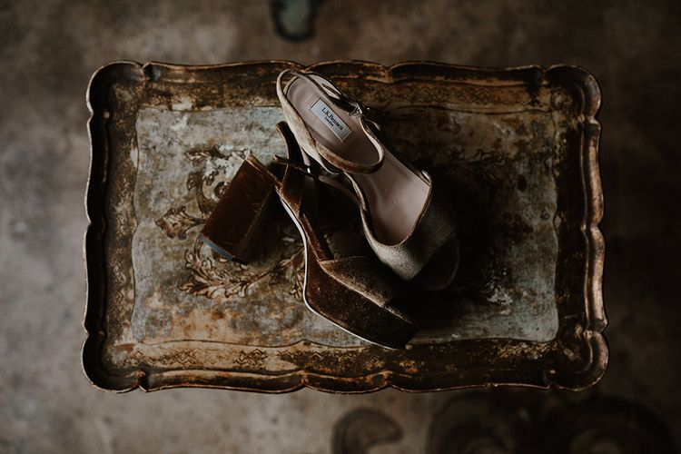 Suede Platform Bridal Shoes | Bridal Accessories | Deep Florals Wedding Inspiration at The Grange at Northington Planned & Styled by Wed & Bash | Sara Lincoln Photography