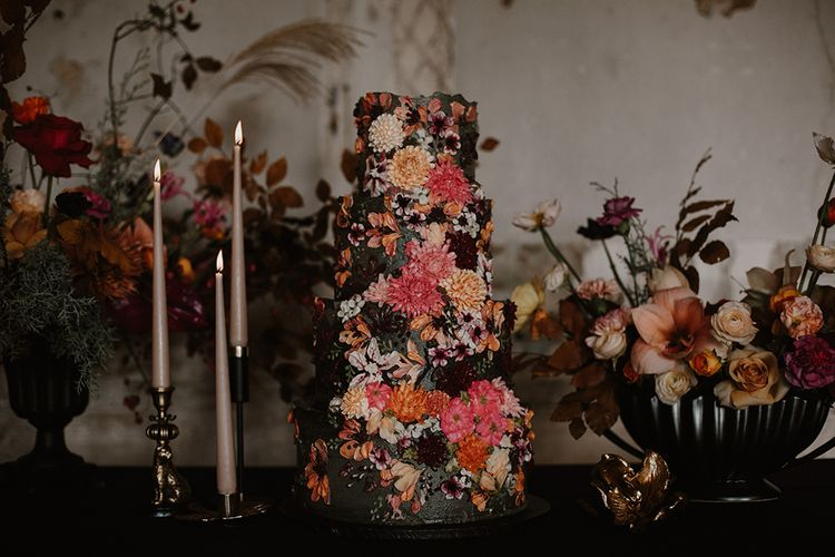 Beautifully Iced Pink, burgundy & Orange Floral Wedding Cake by Emma Page Cakes | Deep Florals Wedding Inspiration at The Grange at Northington Planned & Styled by Wed & Bash | Sara Lincoln Photography