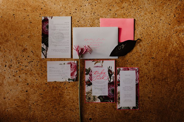 Caroline Taylor Illustration Wedding Stationery Suite | Deep Florals Wedding Inspiration at The Grange at Northington Planned & Styled by Wed & Bash | Sara Lincoln Photography