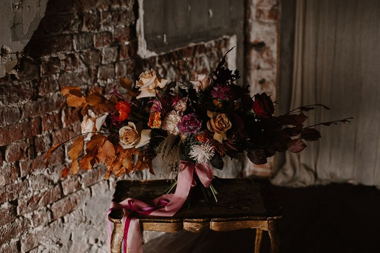 Deep Burgundy, Orange & Pink Bridal Bouquet by Jenni Bloom Flowers | Deep Florals Wedding Inspiration at The Grange at Northington Planned & Styled by Wed & Bash | Sara Lincoln Photography