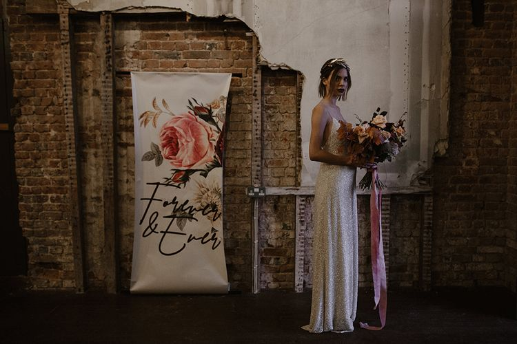 Bride in Sequin Wedding Dress | Floral Stationery Designs by Caroline Taylor Illustration | Bridal Bouquet by Jenni Bloom Flowers | Deep Florals Wedding Inspiration at The Grange at Northington Planned & Styled by Wed & Bash | Sara Lincoln Photography
