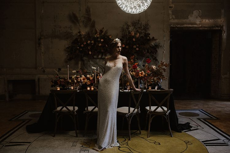 Bride in Sequin Wedding Dress | Tablescape with Taper Candles, Floral Stationery Designs & Floral Centrepieces by Jenni Bloom Flowers | Deep Florals Wedding Inspiration at The Grange at Northington Planned & Styled by Wed & Bash | Sara Lincoln Photography