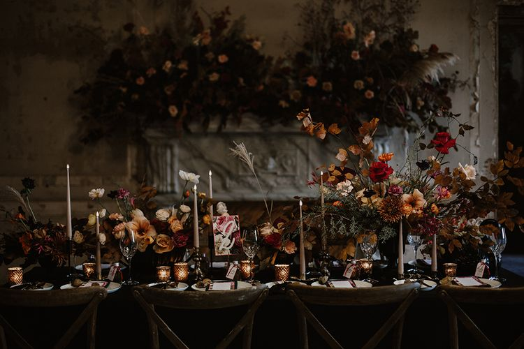 Tablescape with Taper Candles, Floral Stationery Designs & Floral Centrepieces by Jenni Bloom Flowers | Deep Florals Wedding Inspiration at The Grange at Northington Planned & Styled by Wed & Bash | Sara Lincoln Photography