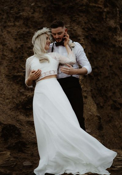 Bridal separates with lace top and dried flower crown