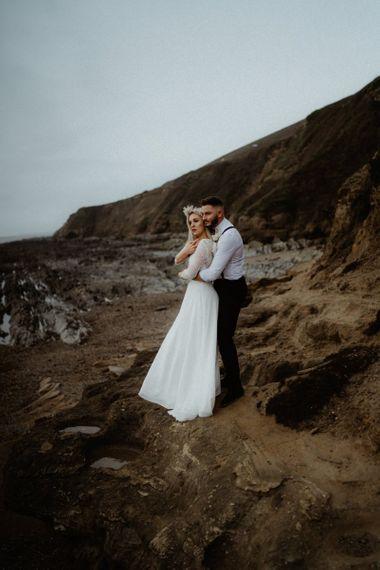 Devon elopement coastal wedding portraits