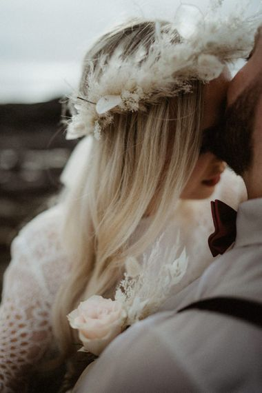 Beige dried flower crown for boho bride