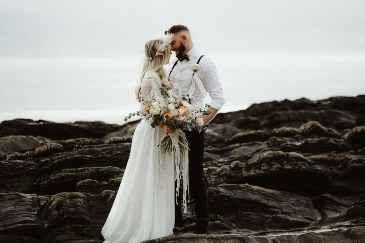 boho bride and groom at Devon elopement