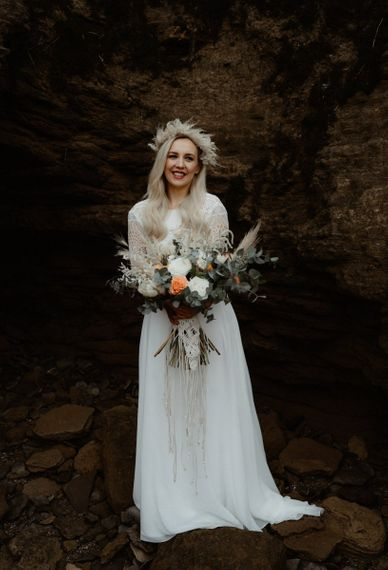 Boho bride in separates, with dried flower crown