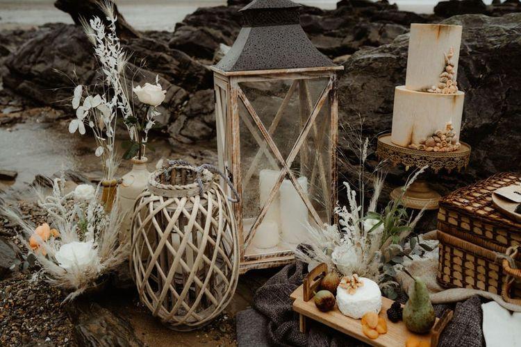 lantern wedding decor at beach elopement
