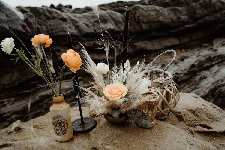Dried grasses and flower stem wedding decor