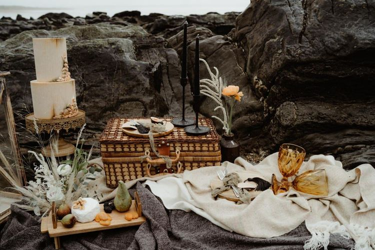 Intimate picnic on the beach at Devon elopement