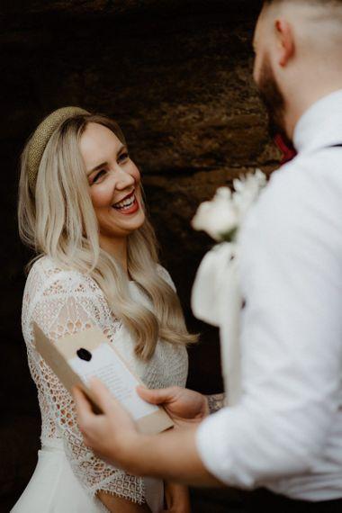 Boho bride with long wavy hair in headband