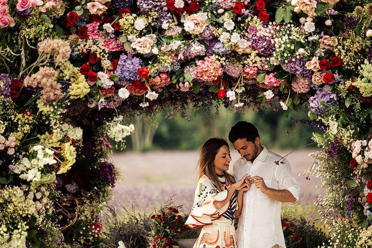 Surprise Marriage Proposal Engagement Shoot at Sunset   Golden Hour Portraits   Pre Wedding Shoot   Couples Portraits   Mayfield Lavender Fields   Chloe Dress   Floral Installation   Harry Michael Photography