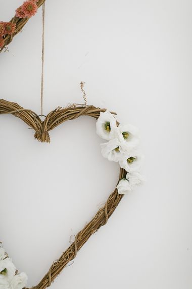 Floral heart wreath with white lisianthus
