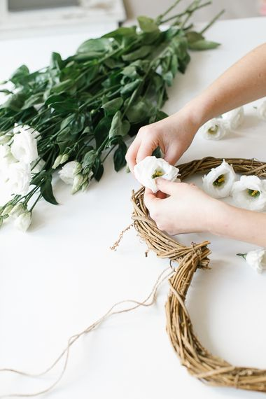 DIY floral wreath using rattan wreath and white lisianthus