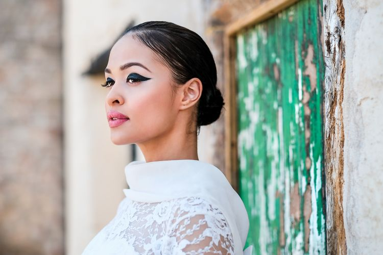 Editorial Inspired Bridal Beauty With Winged Eye Liner And Bold Red Lip