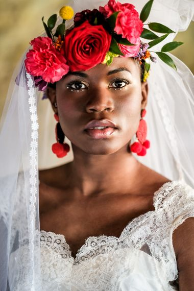 Editorial Inspired Bridal Beauty Look With Gold Eye Liner Bold Brows Nude Lip And Brightly Coloured Floral Crown