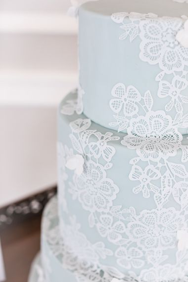 Just As Delicious Blue & White Lace Elegant Wedding Cake | Effortless French Chic at Hale in Hampshire | Charlotte Wise Fine Art Photography