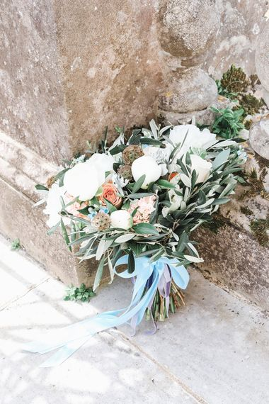 Pastel Bouquet with Blue Ribbon By Jo Hicks Flowers | Effortless French Chic at Hale in Hampshire | Charlotte Wise Fine Art Photography