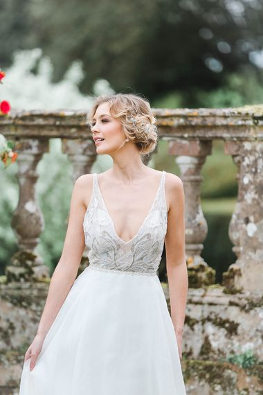 Bride in Tara Keely Bridal Gown | Frances  Moore MUA | Effortless French Chic at Hale in Hampshire | Charlotte Wise Fine Art Photography