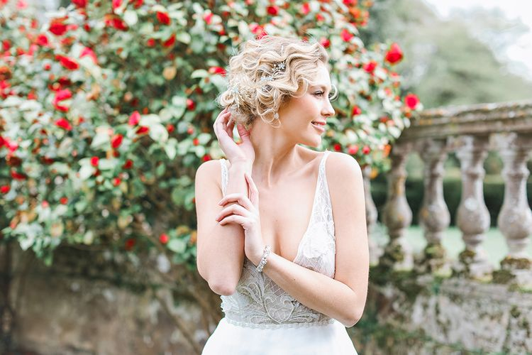 Frances  Moore MUA | Bride in Tara Keely Bridal Gown | Rachel Simpson Wedding Shoes | Effortless French Chic at Hale in Hampshire | Charlotte Wise Fine Art Photography