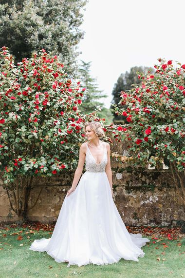 Bride in Tara Keely Bridal Gown | Rachel Simpson Wedding Shoes | Frances  Moore MUA | Effortless French Chic at Hale in Hampshire | Charlotte Wise Fine Art Photography