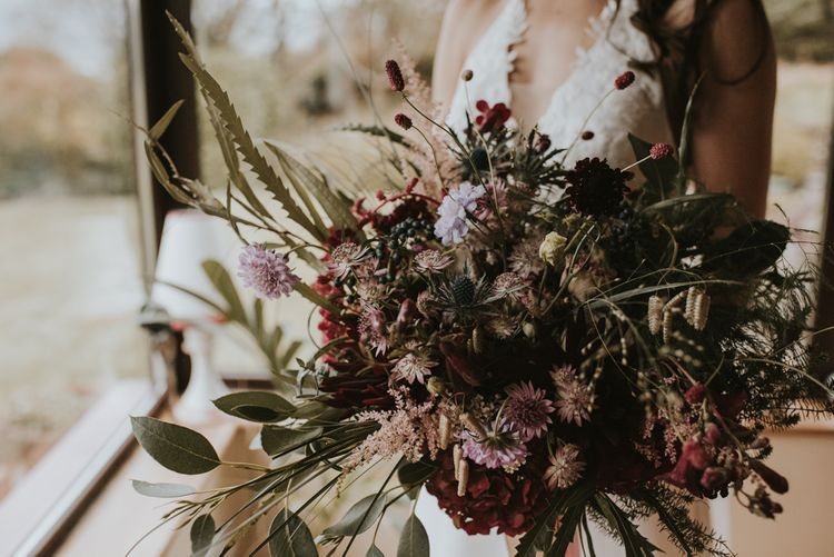 Deep Red and Green Autumnal Bouquet