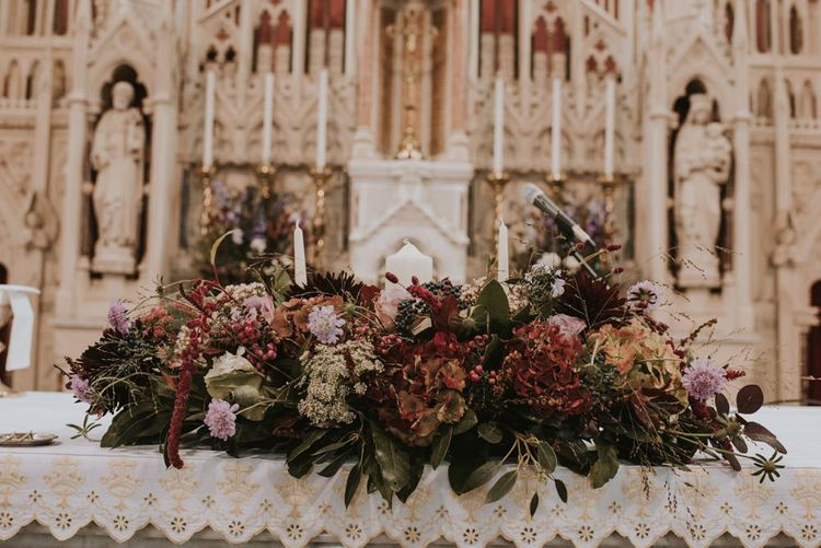 Deep Red and Green Church Altar Flowers