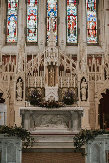 Church Altar with Stain Glass Windows