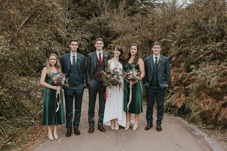 Wedding Party Portrait in Green, Burgundy  and Navy Colours