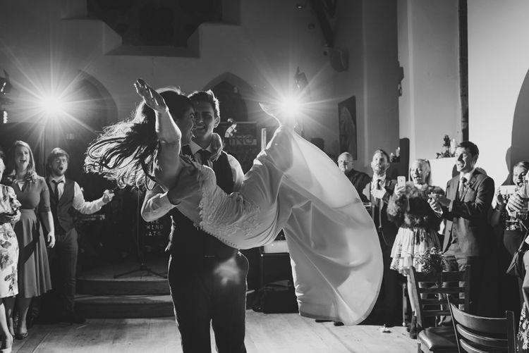 First Dance with Bride in Elbeth Gillis Wedding Dress and Groom in  Tweed Suit