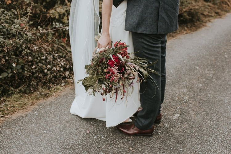 Deep Red and Green Dried Flower Wedding Bouquet