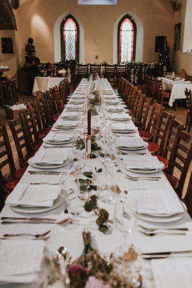 Long Trestle Table with Greenery Centrepiece