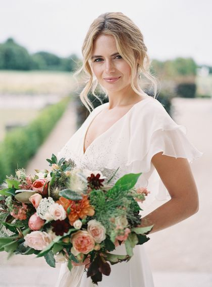 Bride in Lace Cherry Williams London Gown | Living Coral, White & Green Bridal Bouquet with Roses & Foliage | Elegant Summer Inspiration at St Giles House, Dorset by Jessica Roberts Design   Imogen Xiana Photography