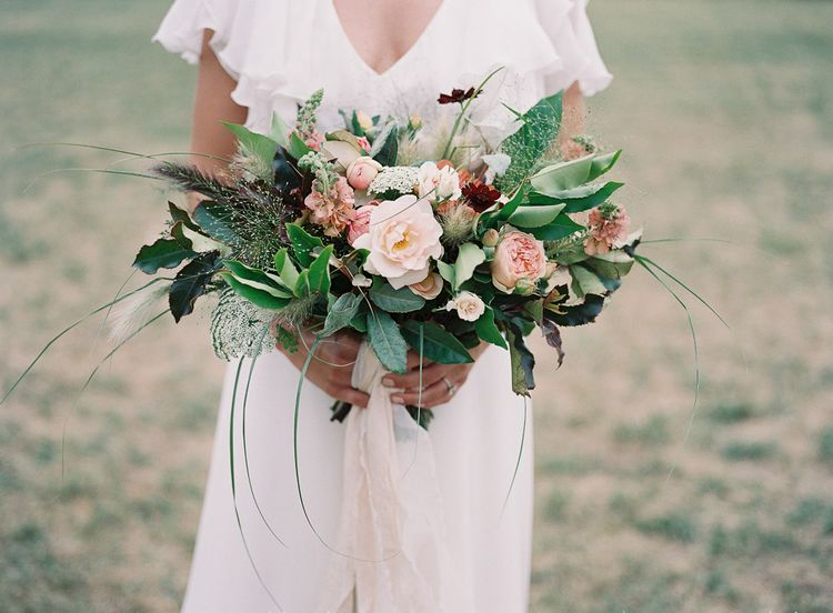 Blush Pink, White & Green Bridal Bouquet with Roses & Foliage | Elegant Summer Inspiration at St Giles House, Dorset by Jessica Roberts Design   Imogen Xiana Photography