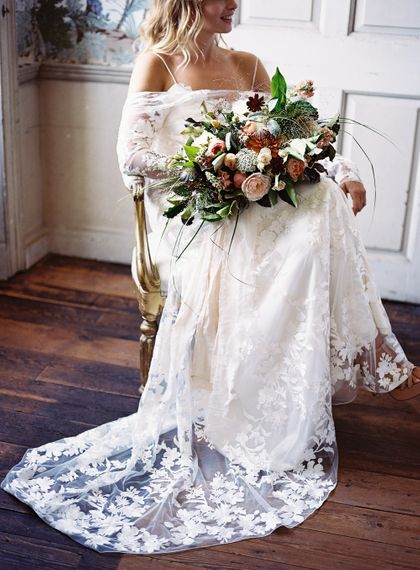 Living Coral, White & Green Bridal Bouquet with Roses & Foliage | Bride in Lace Cherry Williams London Gown | Elegant Summer Inspiration at St Giles House, Dorset by Jessica Roberts Design   Imogen Xiana Photography