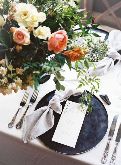Stylish Place Setting  with Black Platter & Menu Card | Elegant Summer Inspiration at St Giles House, Dorset by Jessica Roberts Design   Imogen Xiana Photography