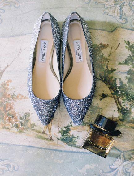 Grey Glitter Jimmy Choo Bridal Shoes & Perfume.