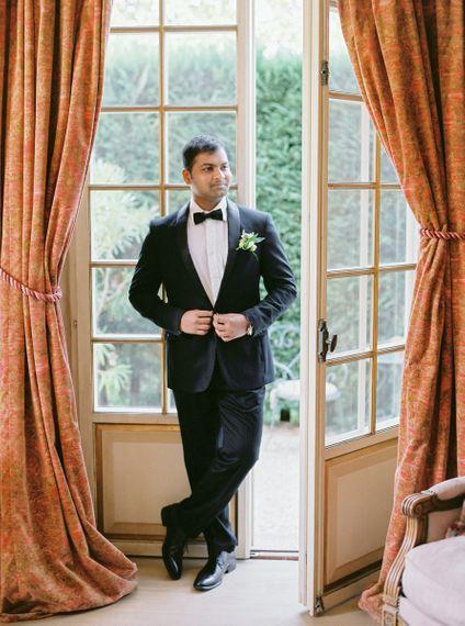 Groom in Black Tuxedo and Bow Tie