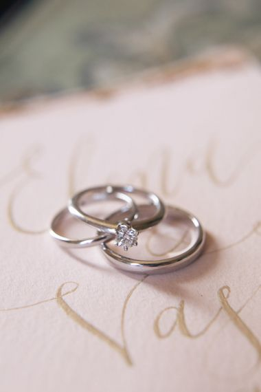 Platinum Wedding Band and Diamond Engagement Ring