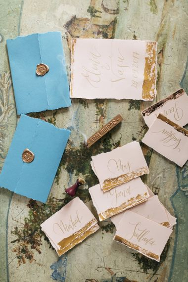Elegant Wedding Stationery with Gold Wax Seal