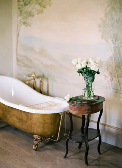 Gold Roll Top Bath and White Rose Wedding Bouquet.