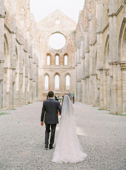 Bride Walking Down the Aisle of a Tuscan Open Air Church