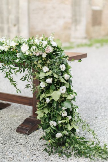 Greenery and White Flower Floral Garland