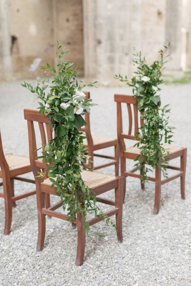 Foliage and White Flower Aisle Chair Wedding Flowers