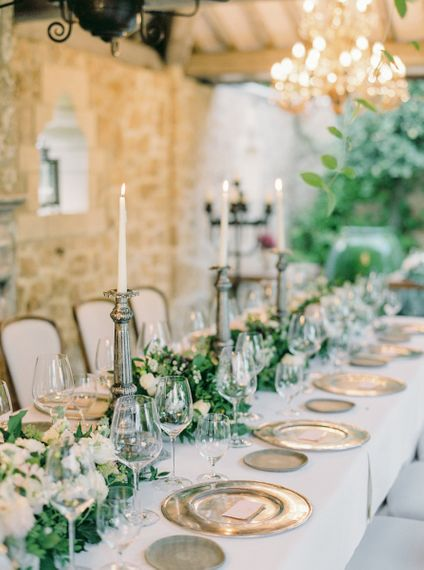 Silver Platters and Candlesticks Wedding Reception Table Decor