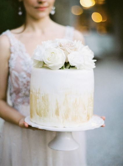 Single Tier Wedding Cake with Gold Decor and Floral Cake Topper