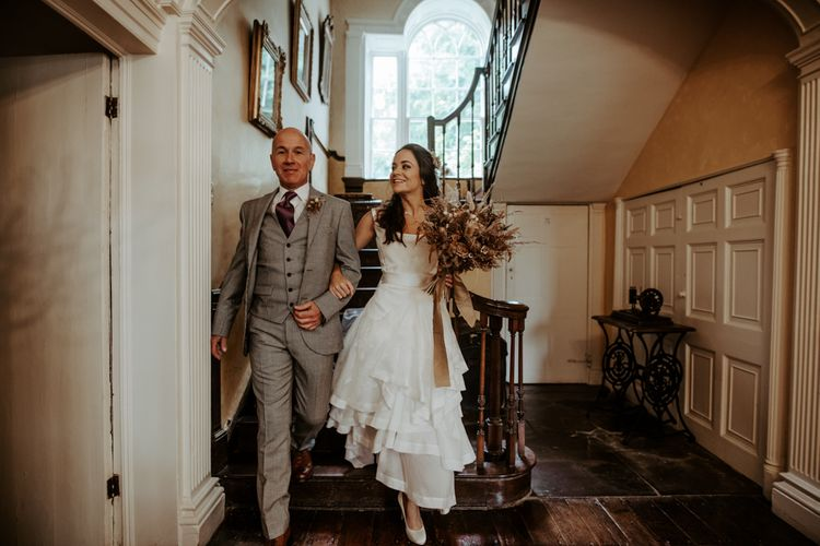 Bride in homemade wedding dress at September 2020 wedding